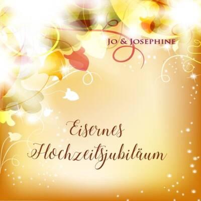 Gruß zum Eisernen Hochzeitsjubiläum Cover mit gelbem Hintergrund und Blättern