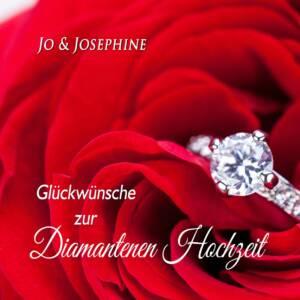 Glückwünsche zur Diamantenen Hochzeit von den Kindern Cover der CD mit Brillantring auf Rosen