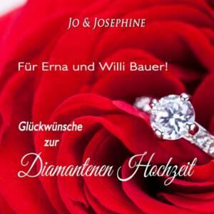 60. Hochzeitstag Diamantene Hochzeit personalisiertes CD-Cover mit Brillanring und roten Rosen