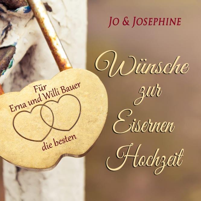 Eiserne Hochzeit Glückwünsche mit personalisiertes CD Cover mit Herzschloss