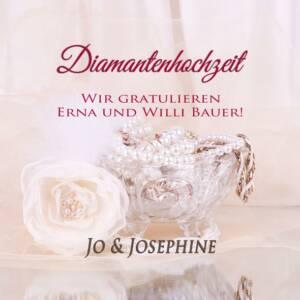 Diamantenhochzeit personalisiertes Cover mit Kristallschale und Glasrose