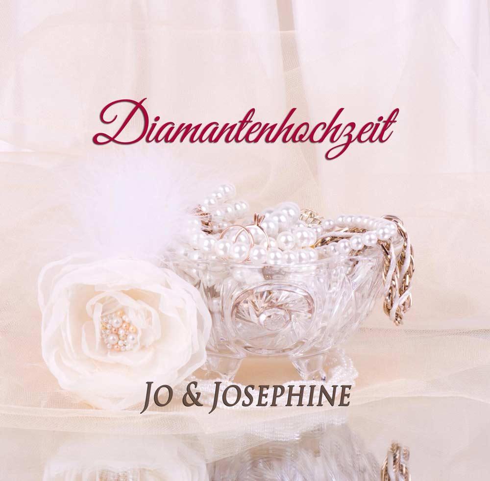 Lied zur Diamantenen Hochzeit CD-Cover mit Kristallschale und Glasrose