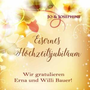 emotionale Grüße zur Eiserne Hochzeit personalisiertes CD-Cover auf gelbem Hintergrund mit Blättern