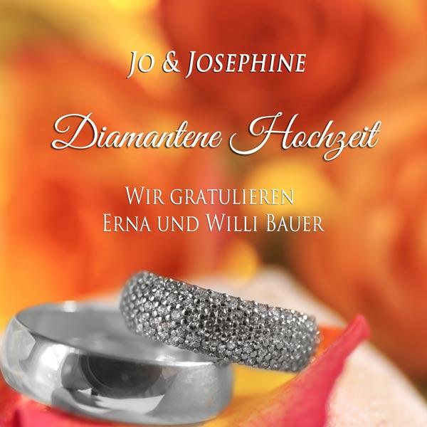 60 Jahre verheiratet personalisiertes Cover für Diamantene Hochzeit mit Diamantringen
