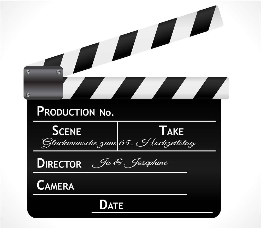 Glückwünsche zum 65. Hochzeitstag mit Videoaufnahmen - schwarze Filmklappe als Symbol
