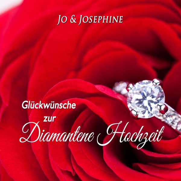 Glückwünsche zur Diamantenen Hochzeit Cover Brillantring rote Rosen
