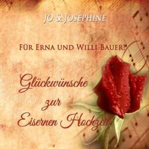 Geschenk zur Eisernen Hochzeit Glückwünscpersonalisiertes CD-Cover mit roter Rose auf Notenpapier