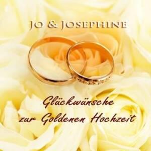 Glückwünsche Goldene Hochzeit goldene Ringe auf gelben Rosen Cover