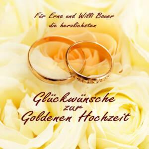 CD als Glückwunsch zur Goldenen Cover personalisiert mit Ringen auf gelben Rosen
