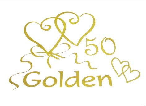 Goldene Hochzeit Serviette mit Aufschrift golden 50 und goldenen Herzen
