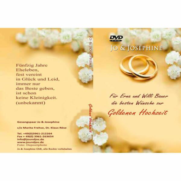 Goldhochzeit: persönliche DVD Cover zur personalisierten DVD Goldenen Hochzeit goldene Ringe und Text